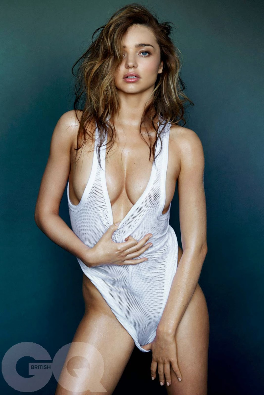 Miranda Kerr wet t-shirt in GQ UK Magazine Naked Photoshoot (May 2014)
