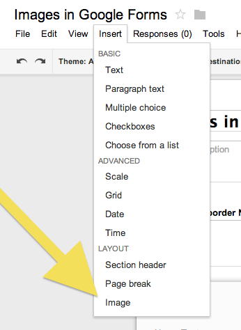 how to insert image to answer to google form