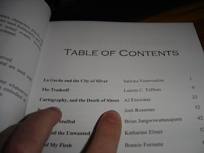 The table of contents for Fat Girl In A Strange Land with my story highlighted