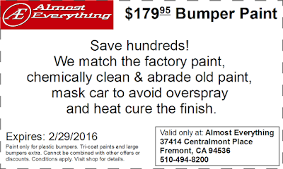Discount Coupon $179.95 Bumper Paint Sale February 2016
