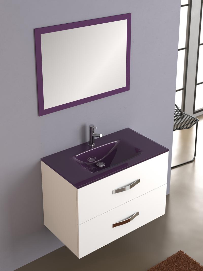 Lavabos Para Baños Cristal: lavabo+de+cristal+suspendido+2+cajones+brillo+morado+lavabo+cristal