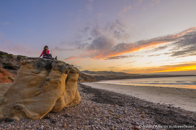 Breathtaking view of Aldinga Bay at sunset, Sellicks Beach, South Australia