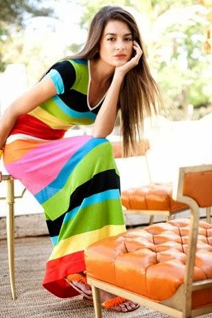 Bright stripes Fringe Maxi  Dress