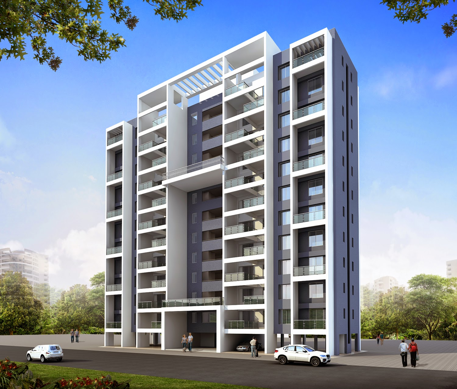 Shaikh zuber rashid modern residential buildings pune for Modern house construction