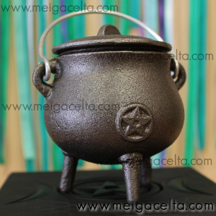 caldero wicca mágico de hierro fundido 3 patas
