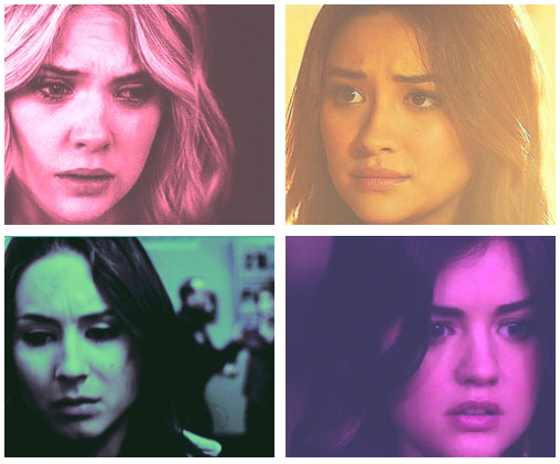 Pretty Little Liars Hanna Marin, Emily Fields, Spencer Hastings, Aria Montgomery