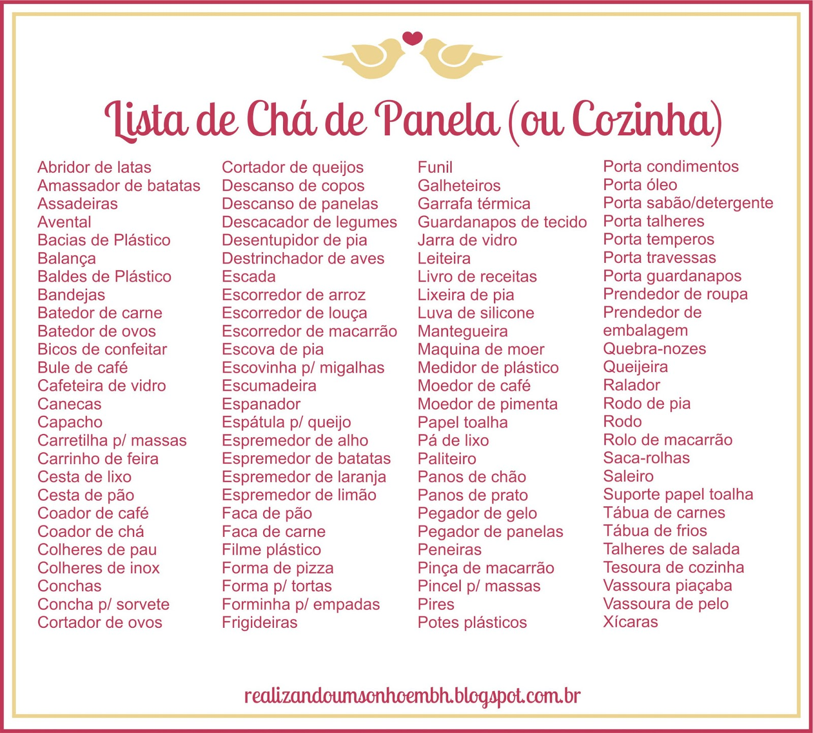 Lista De Ch De Cozinha Simples