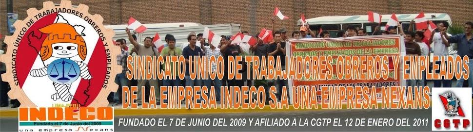 SINDICATO UNICO  DE TRABAJADORES OBREROS Y EMPLEADOS DE  INDECO S.A