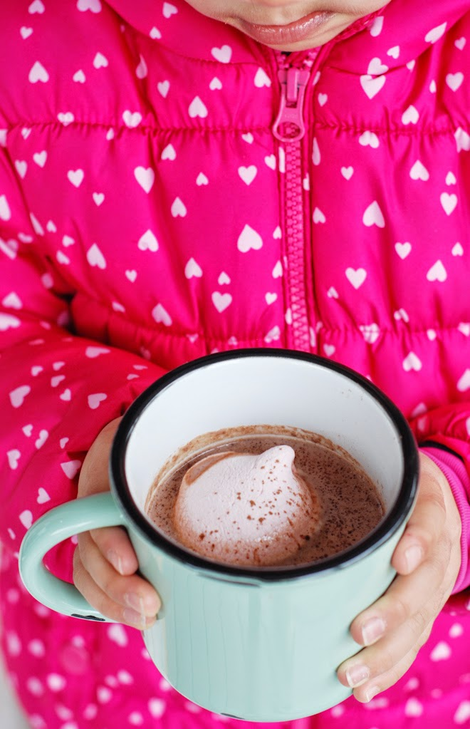 large mug of hot chocolate with raspberry marshmallow