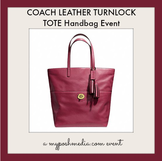 Enter to win a $298 COACH LEATHER TURNLOCK TOTE Handbag 9/28-10/26