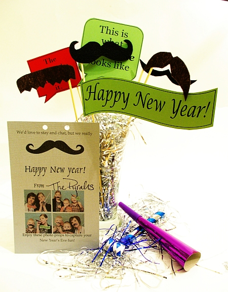 Mustache photo prop printable gift for Fun new years eve party ideas