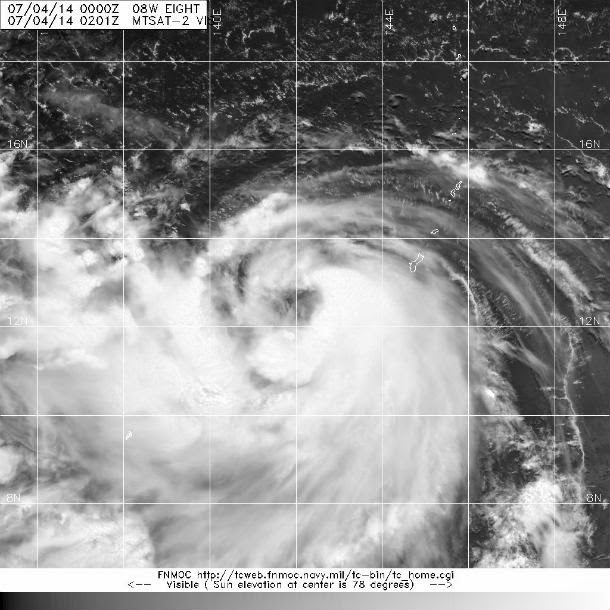 tormenta tropical Neoguri, 04 de Julio 2014, imágen satélite