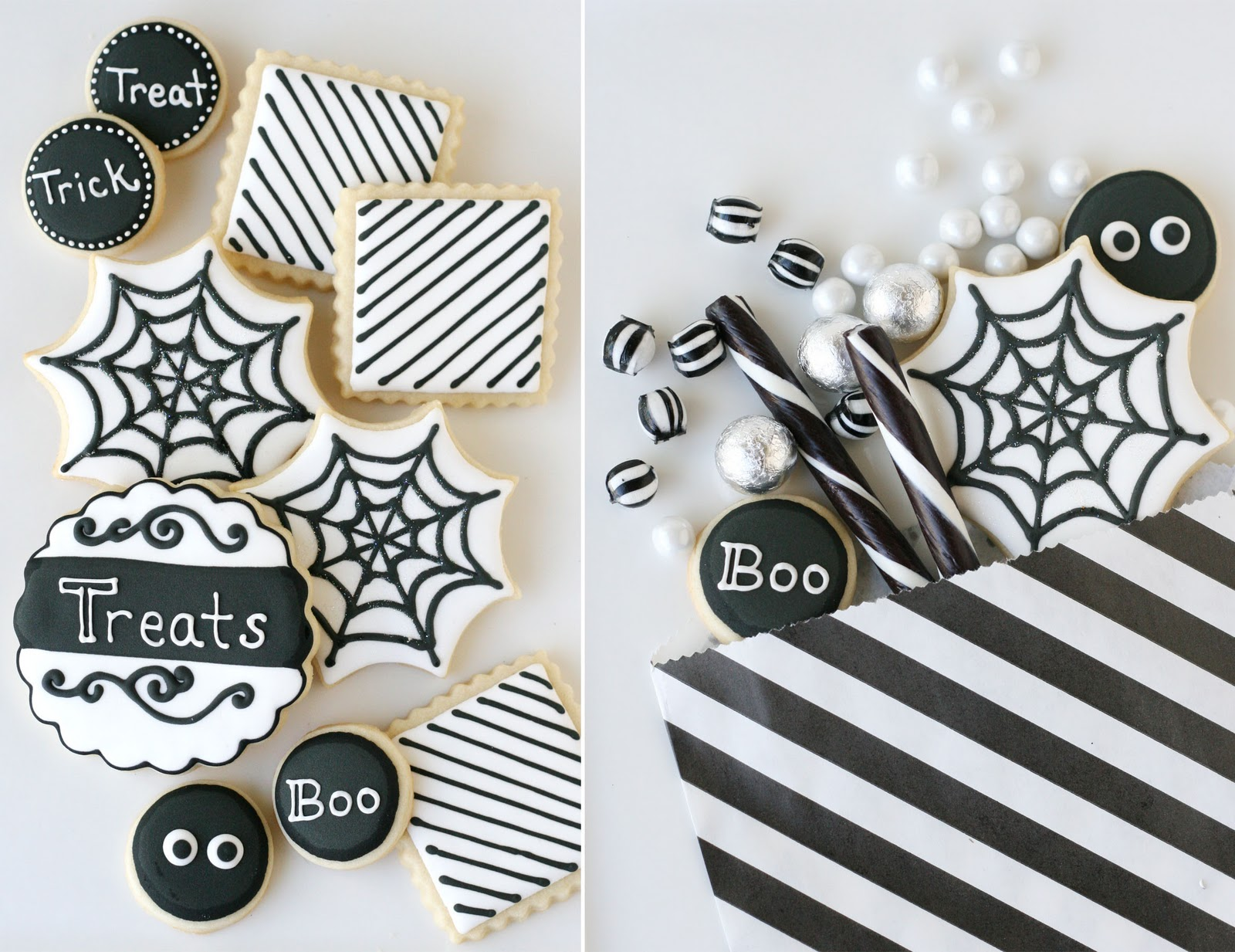 black and white halloween dessert table – glorious treats