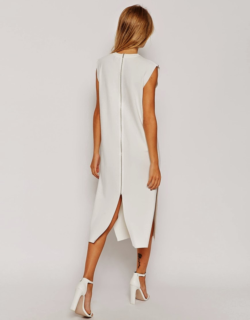 white zip back midi dress