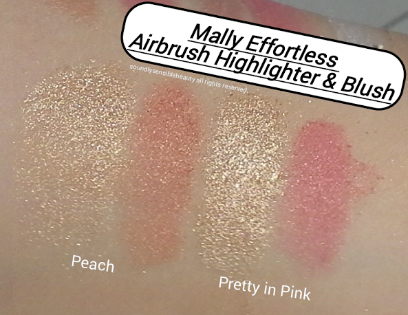 Mally Effortless Airbrush Highlighter & Blush Duo; Review & Swatches of Shades Peach & Pretty in Pink