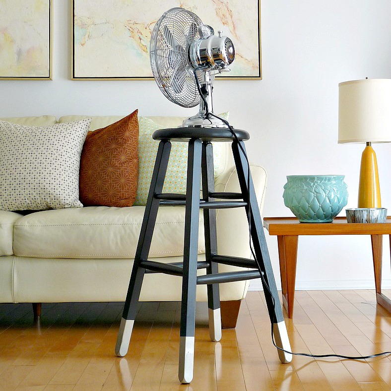 diy dipped leg stool makeover