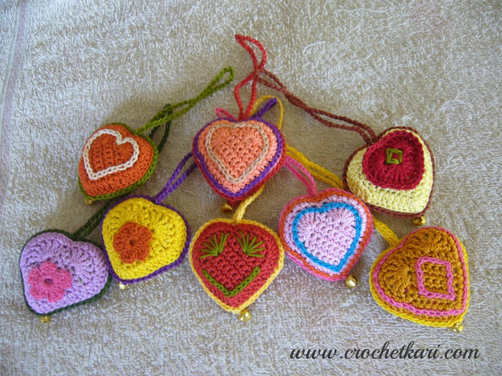Crochet puffy hearts free pattern