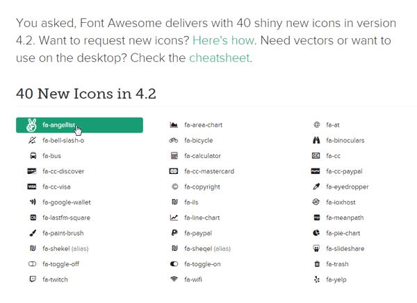 Halaman Icons Font Awesome Terbaru Versi 4.2.0