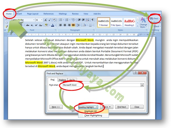 Gambar: Cara membuat highlight dengan warna latar belakang kuning terang untuk semua hasil pencarian di dokumen Microsoft Word