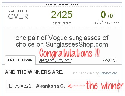 SunglassesShop giveaway winner