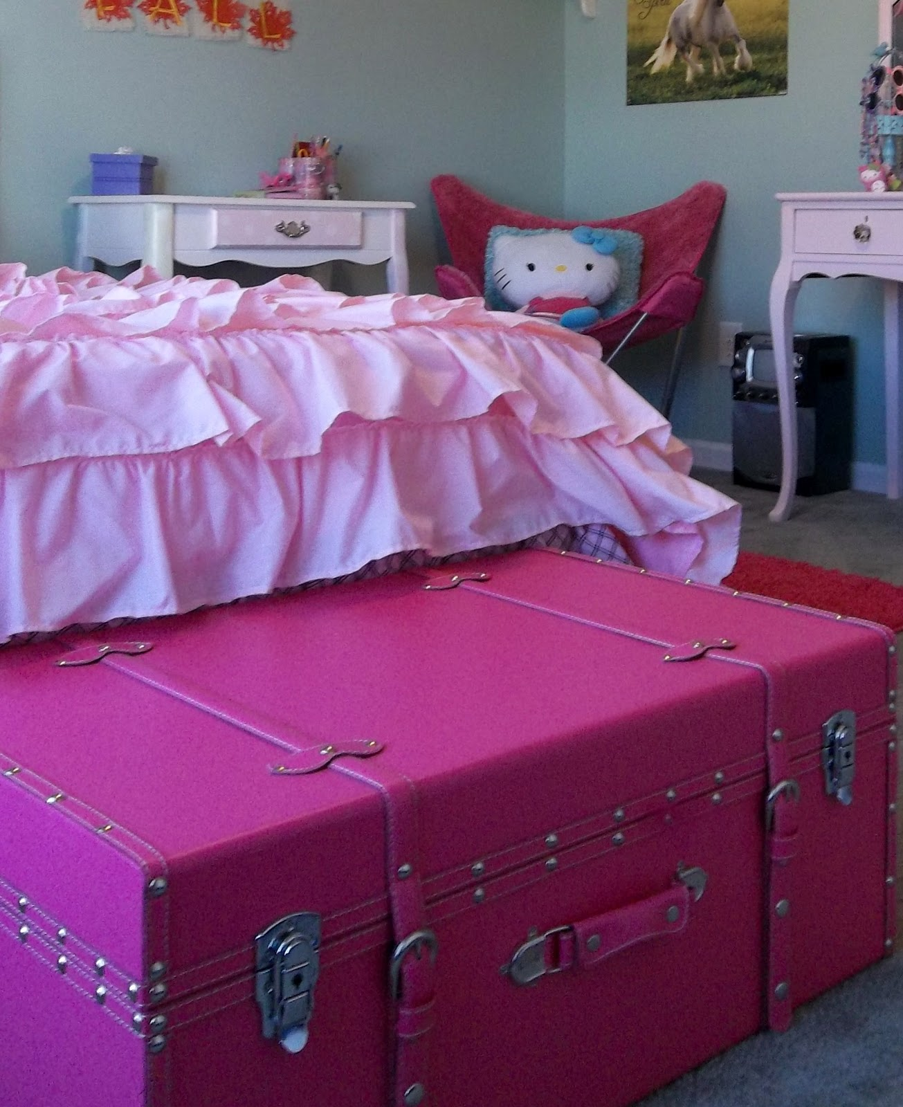 Vintage  Paint and more    pink trunk for girly girl room to store. Girly Girl Bedroom   Vintage  Paint and more