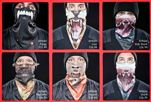 Airhole masks including Fangs, Shark & Hannibal Lecter