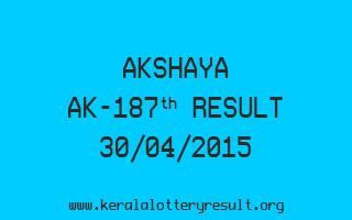 Akshaya AK 187 Lottery Result 30-4-2015