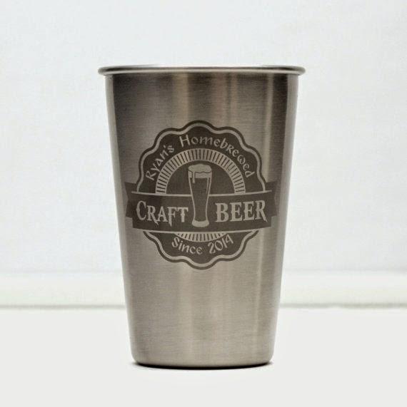 Glass Blasted Custom Engraved Glassware & Growlers; metal pint glasses; beer; nonic; growlers; engraving; art; beer art; craft beer; homebrew