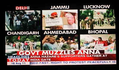 Channel showing people protesting Anna's arrest