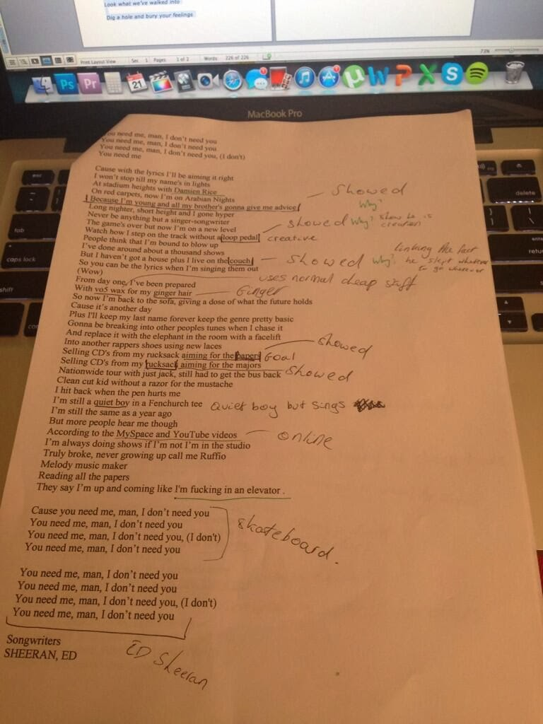matthew jones advanced production analysing ed sheeran s you as you can see by the notes ed sheeran has written a song thats explaining how he has done everything himself and that he is not another manufactured pop