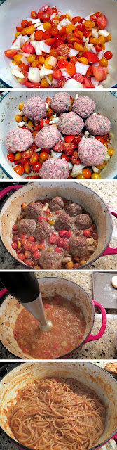 Fresh cherry tomato, homemade meatballs, oven roasted.