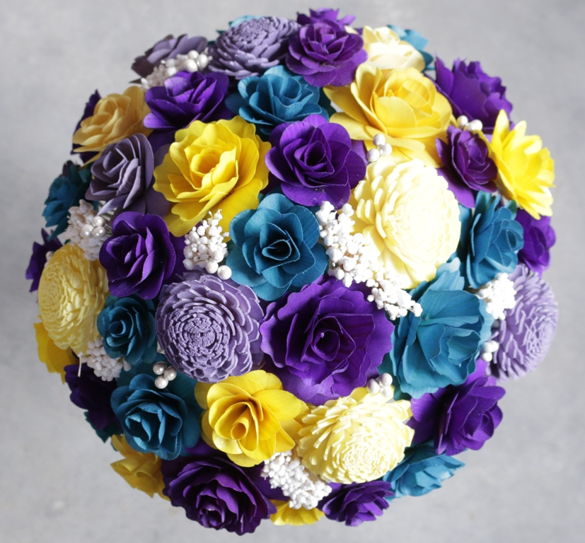 Turquoise purple and yellow wedding bouquets corsages and turquoise purple and yellow wedding bouquets corsages and boutonnieres made of of birch wood and sola flowers mightylinksfo