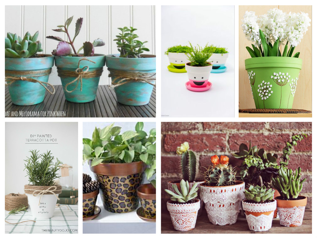 Terra Cotta flower pots are fairly inexpensive, compared to the faux plastic look-a-likes, and even though they are simple and plain there are plenty of ways to spice them up. This weeks Saturday Inspiration and Ideas takes a look at some planter project makeover's sure .