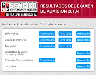 Resultados Examen SENCICO 2014-2 Lima