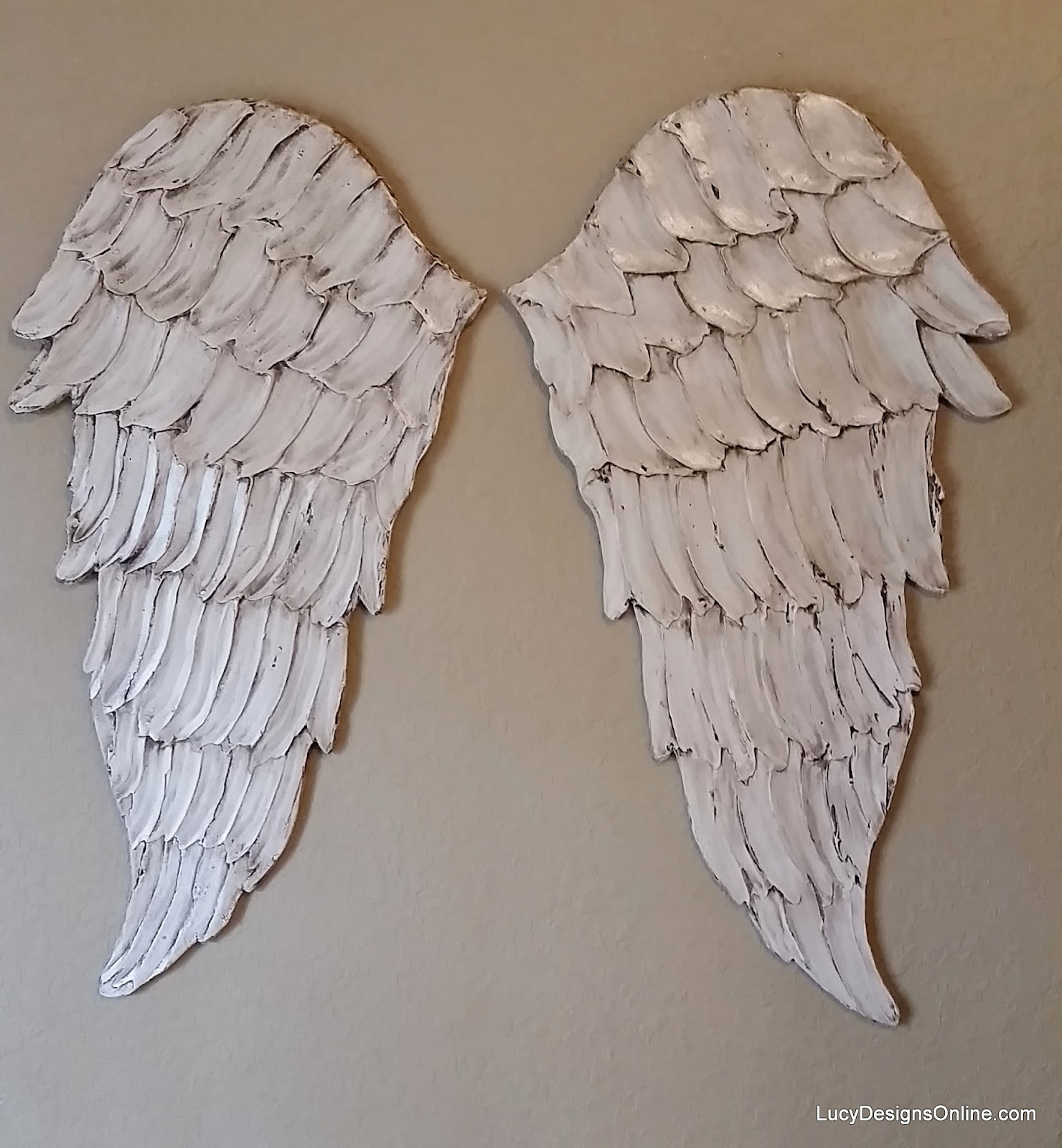 angel wings wall art, carved look wood