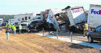 BEAUMONT (Texas) Dua maut dalam pertembungan 140 kenderaan