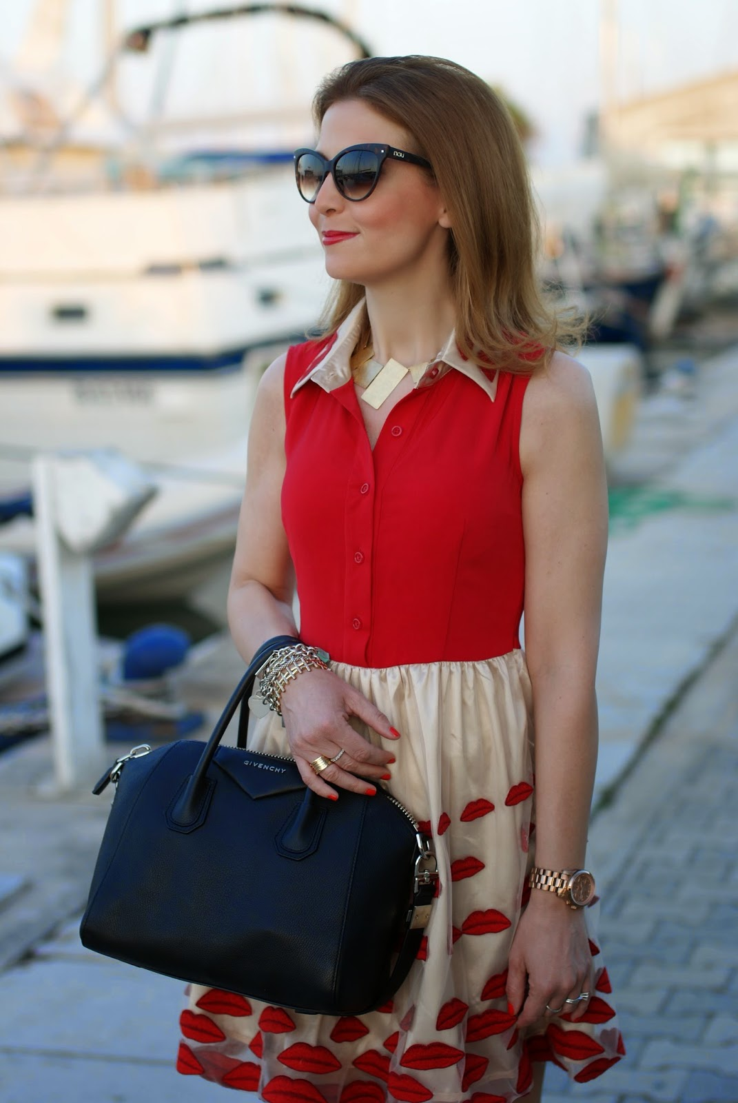 Choies red lips dress, NAU! sunglasses, Givenchy Antigona black, Fashion and Cookies, fashion blogger