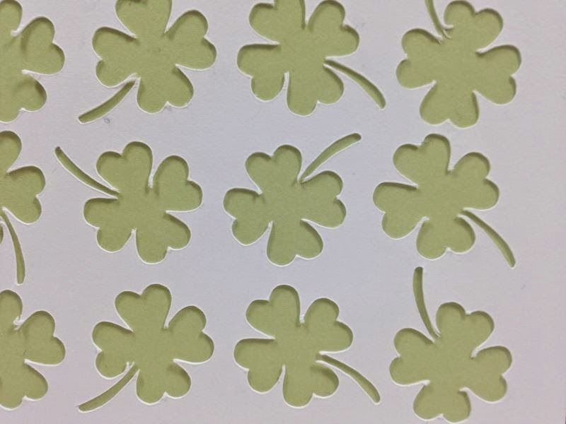 Cricut Artfully Sent Four-leaf clover card closeup