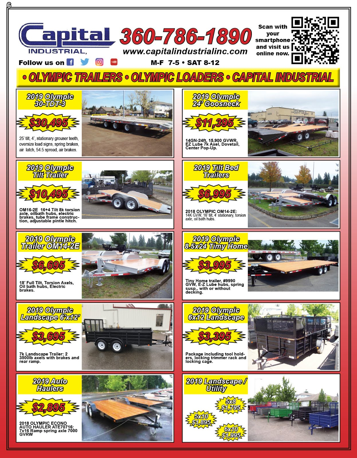 Capital Industrial Olympic Trailer MFG Year End Industrial Trailer Sale!!