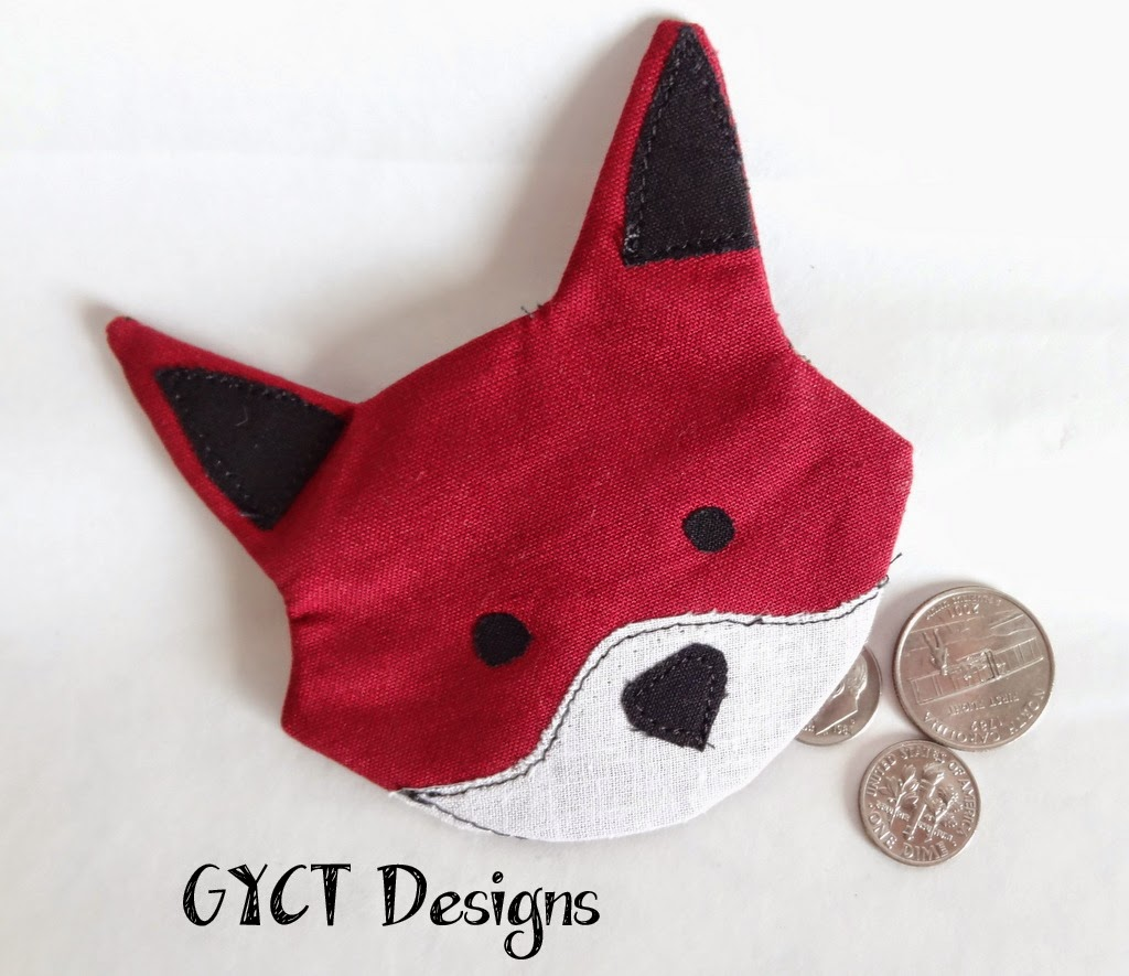 fox face design coin purse with zip on back