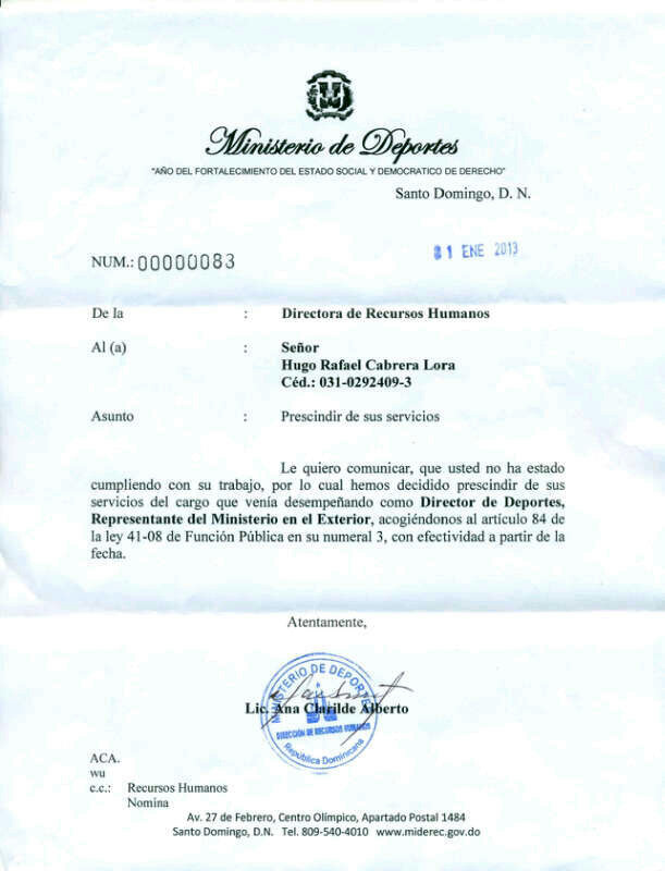 Ministerio de Deportes cancela al 'Inmenso' Hugo Cabrera.