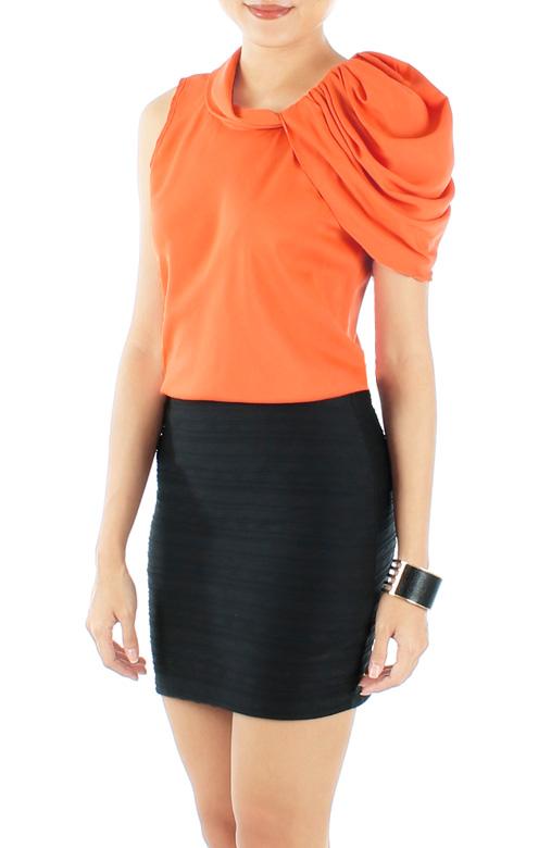 Zest Orange Couture One-Shoulder Ruffled Top