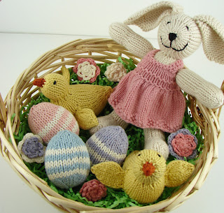 knit easter basket, knit eggs, knit chicks, crochet flowers
