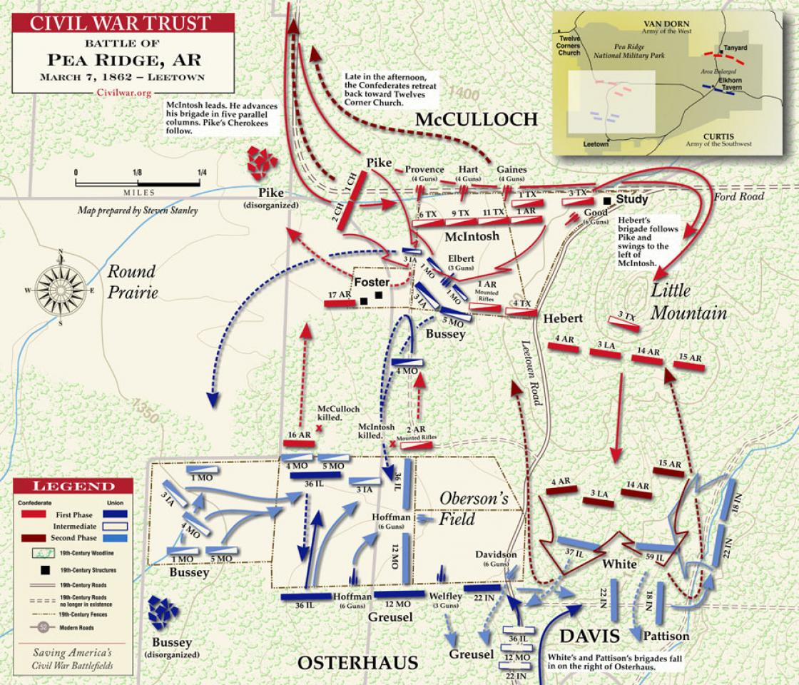 american battlefield trust map of the fight at leetown on march 7 1862 courtesy of the american battlefield trust