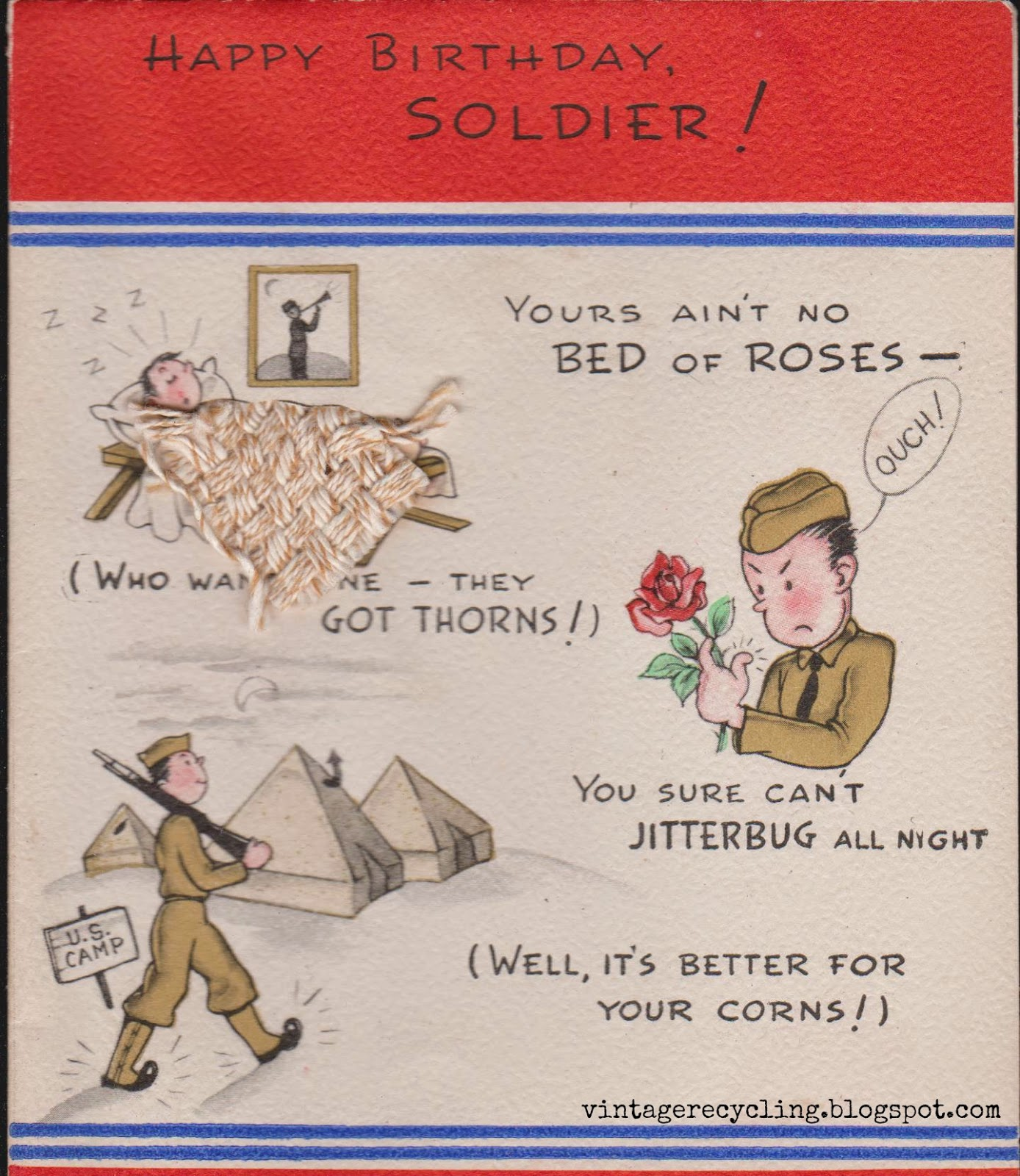 vintage recycling: 1940s WWII greeting cards for Soldiers