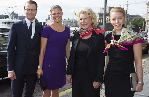 ,Crown Princess Victoria of Sweden andPrince Daniel attended the French-Swedish Business Forum at the Grand Hôtel