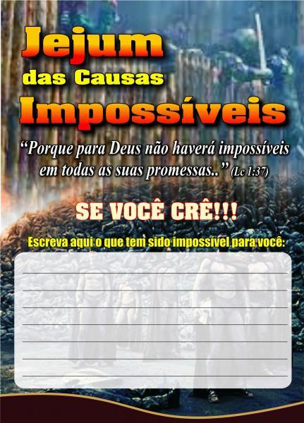 Impacto Universal Cartelas Jejum Das Causas Impossiveis