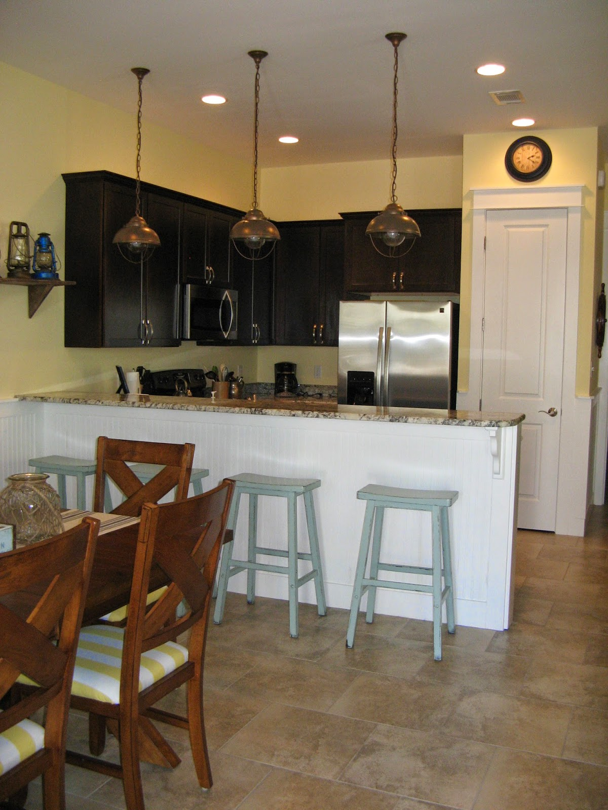 Dark Stained Kitchen Cabinets - Beach Cottage