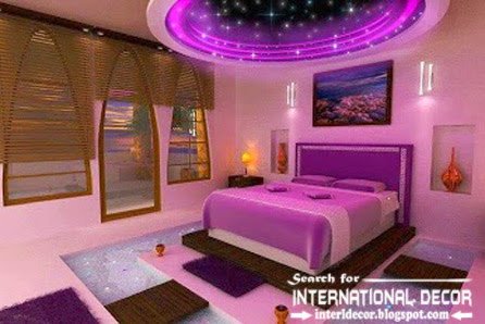 Contemporary pop false ceiling designs for bedroom 2015 with purple lighting