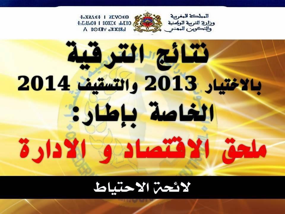 لائحة المستوفين لشروط الترقي بالاختيار 2013 والتسقيف 2014 الخاصة بإطار ملحق الاقتصاد و الادارة